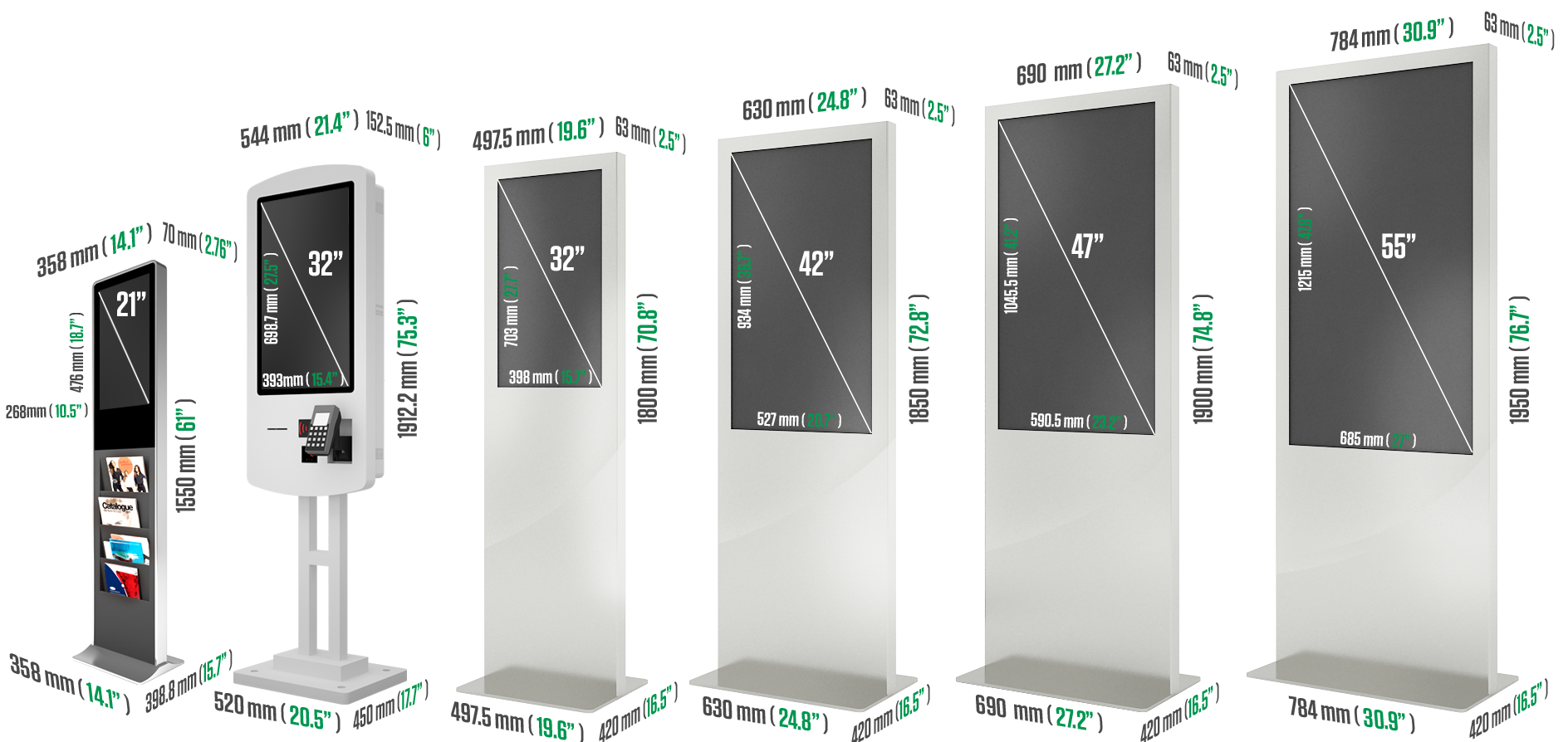 Eflyn Catalogue Kiosk, Self Ordering Kiosk, and Various Free Standing Multi-Touch Kiosks Measurements