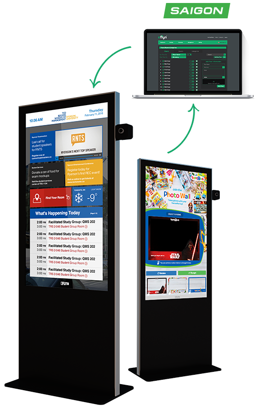 Eflyn Free Standing Kiosks being managed through the Saigon Content Management System via Laptop