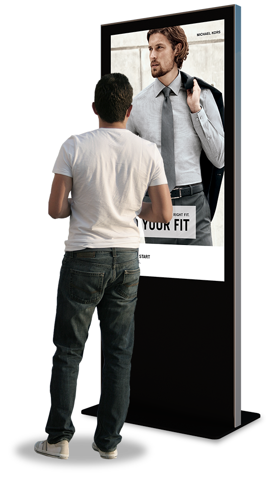 Eflyn Free Standing Kiosk being interacted by a person