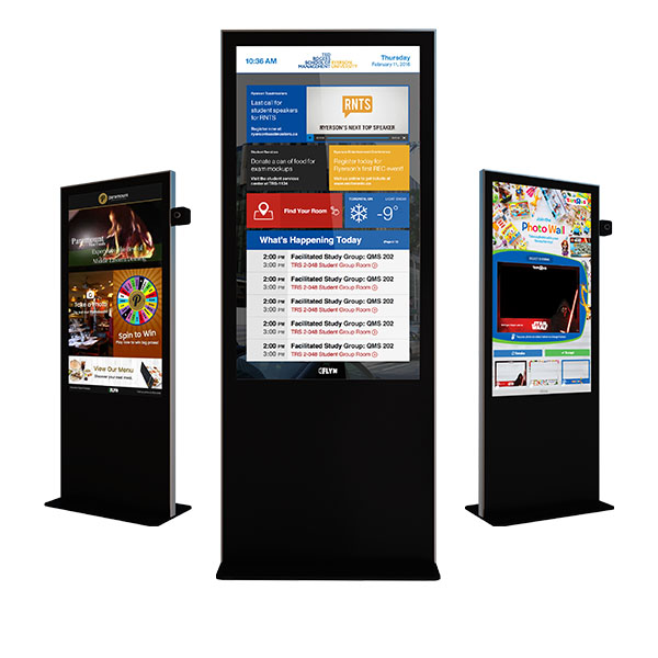 Eflyn Free Standing Kiosks 3 of each showcasing the apps Spin To Win, SocialBooth Pro and the Ryerson University App