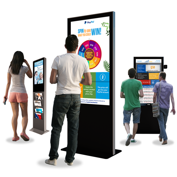 Eflyn Free Standing Kiosks being used by the public