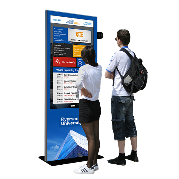 Eflyn Free Standing Multi-Touch Kiosk featuring Ryerson University App being interacted by people