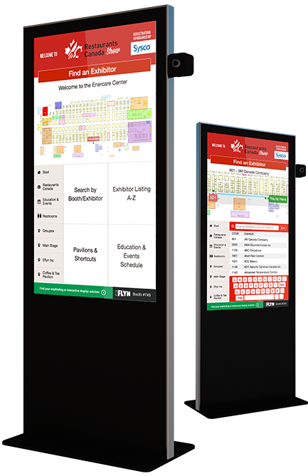 Eflyn Free Standing Kiosks featuring Easyfind Pro for Restaurants Canada Show