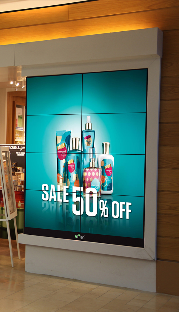 Eflyn 2x4 8 Panels Video Wall-Mountable in store being displayed