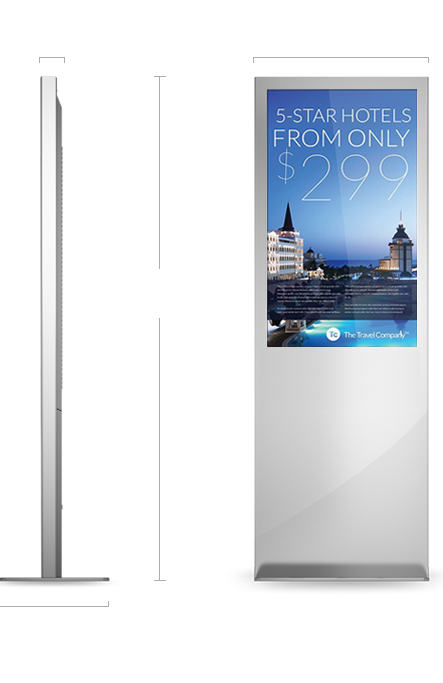 """Eflyn 42"""" Free Standing Kiosk Size Specifications"""