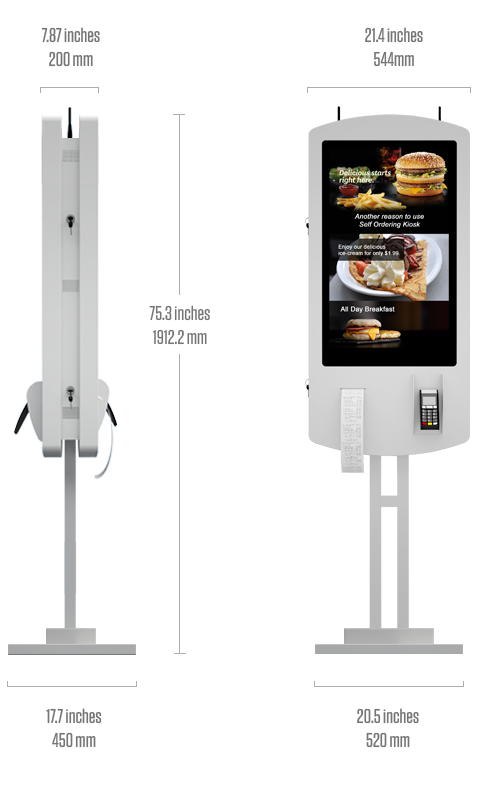 "Eflyn 32"" Self Ordering Kiosk Size Specifications"