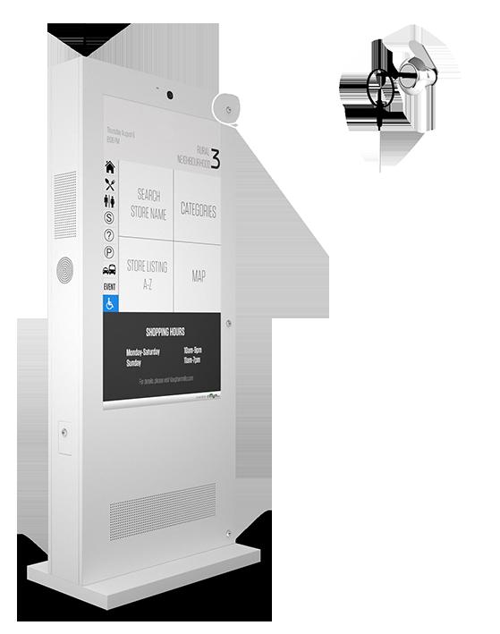 Eflyn Outdoor Digital Display Touch Screen Kiosk Closeup of Secure Locks Image
