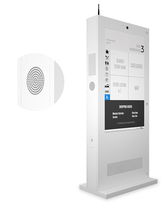 Eflyn Outdoor Digital Display Touch Screen Kiosk Closeup of Built In HD Speakers Image