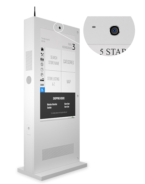 Eflyn Outdoor Digital Display Touch Screen Kiosk Closeup of Built In Camera and Brightness Control Sensors Image