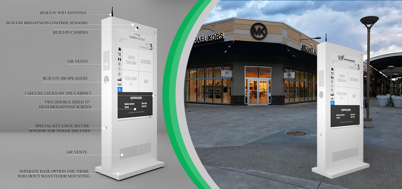 Eflyn Outdoor Digital Display Touch Screen Kiosk Labelled Anatomy at the Outlet Mall Image