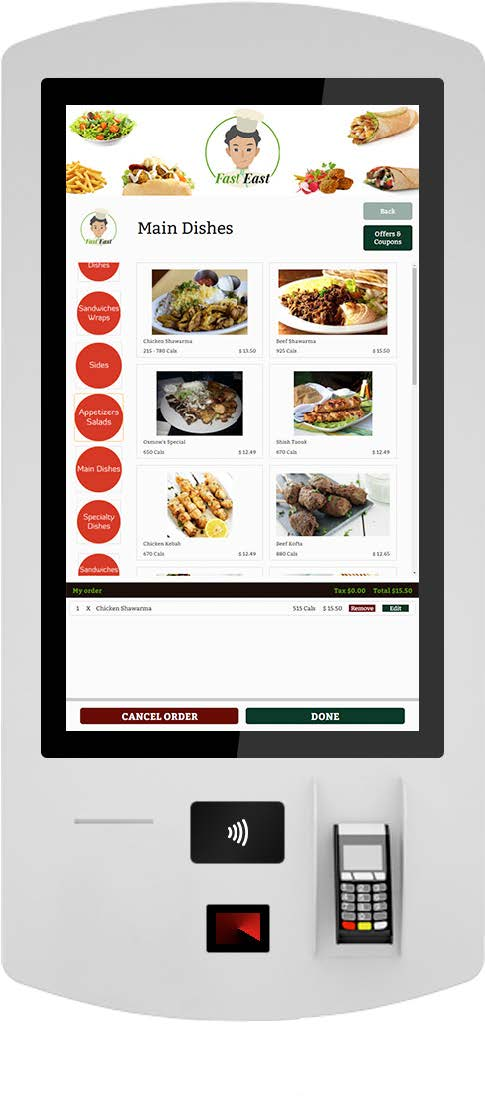 Self Ordering Kiosk Page Menu Screen