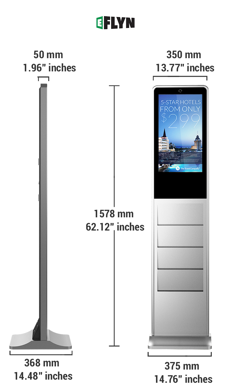 "Measurements of 21.5"" Touch Screen Digital Signage with Built-in 4 pockets Brochure & Pamphlet Holder"