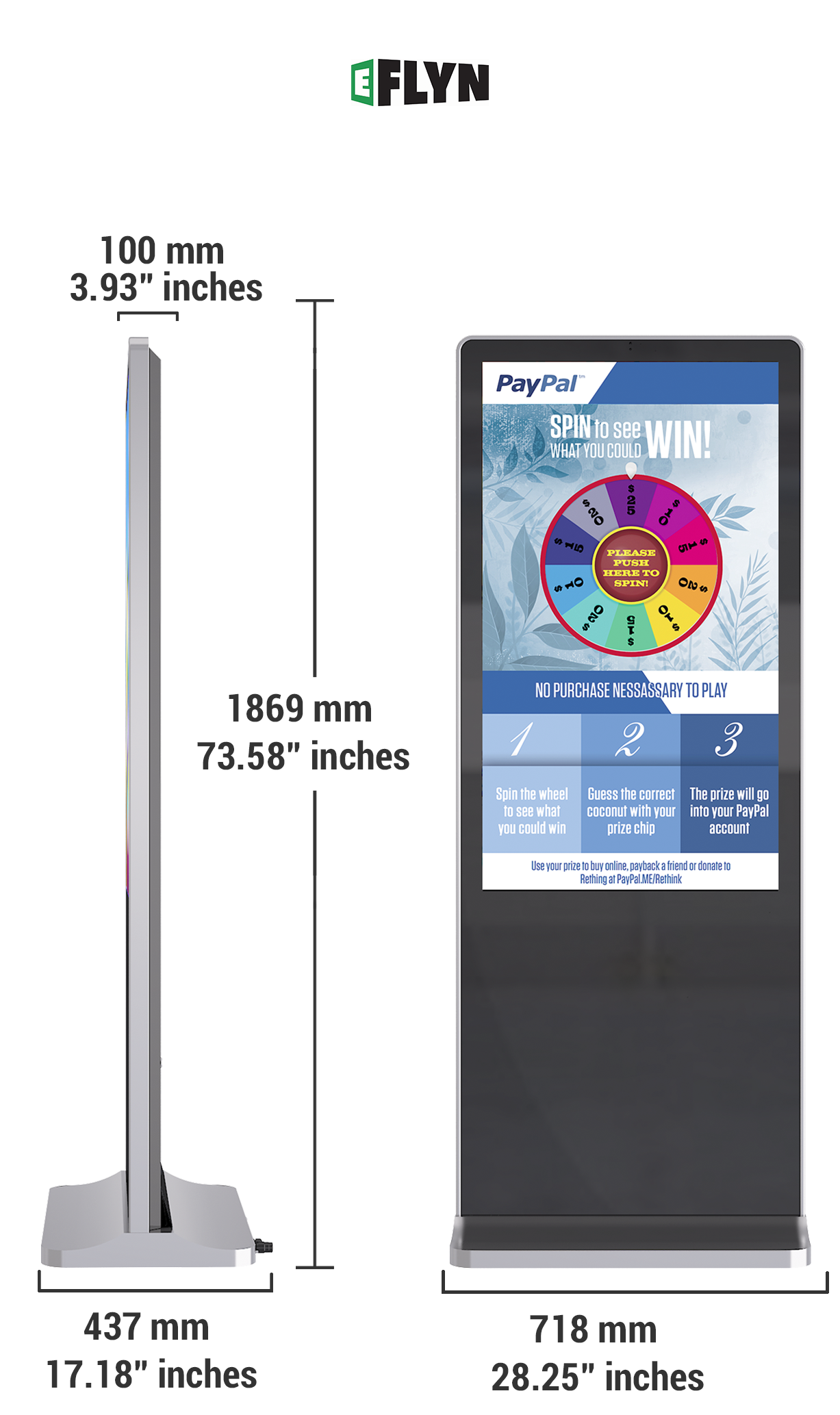 "Size Specifications of 49"" Floor Standing Kiosk"