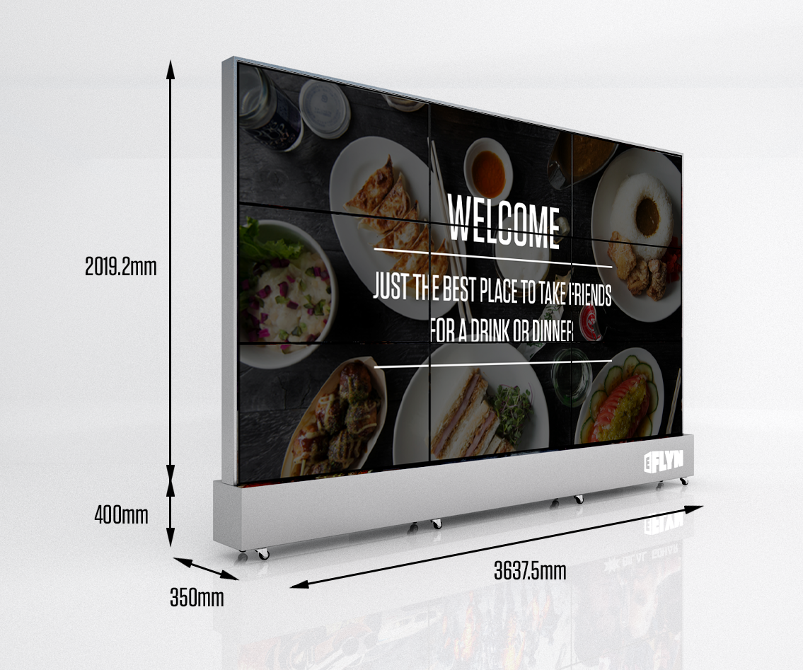 "size specifications 3x3 Portable Video Wall with 9 x 47"" Panels, Also available in Touch Screen"